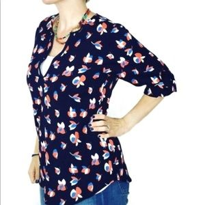 Pixley Floral Navy Split Neck 3/4 Sleeve Blouse